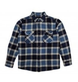 Brixton Bowery L/S Flannel Slate Blue Large Button Shirt Mens