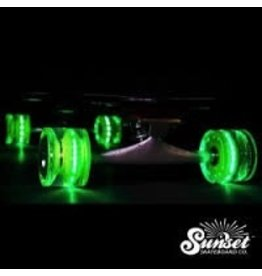 Sunset Skateboard Co. Sunset Green 69mm/78a Longboard Wheel Set w/ ABEC-9 Bearings