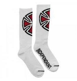 Skate Independent  Shinner Tall Crew Socks, White, 9-11, Single Pair