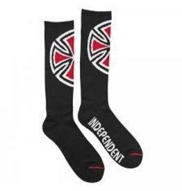 Skate Independent Shinner Tall Crew Socks, Black, 9-11, Single Pair