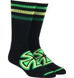 Skate Independent  Colored Stripes Crew Socks Black 9-11 Single Pair