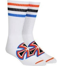 Skate Independent  Colored Stripes Crew Socks White 9-11 Single Pair