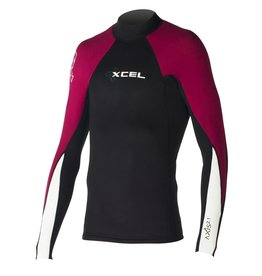 XCEL Xcel Axis 2/1mm L/S Wetsuit Top Black Burgundy White Large Mens