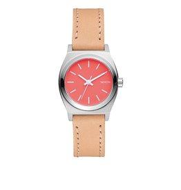 Nixon Nixon Small Time Teller Leather Watch Bright Coral Natural