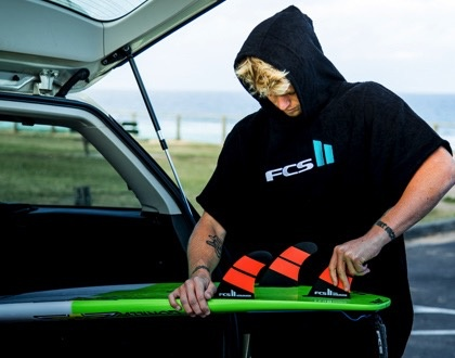 FCS FCS Poncho Black Changing Hoodie Towel Surfing Beach