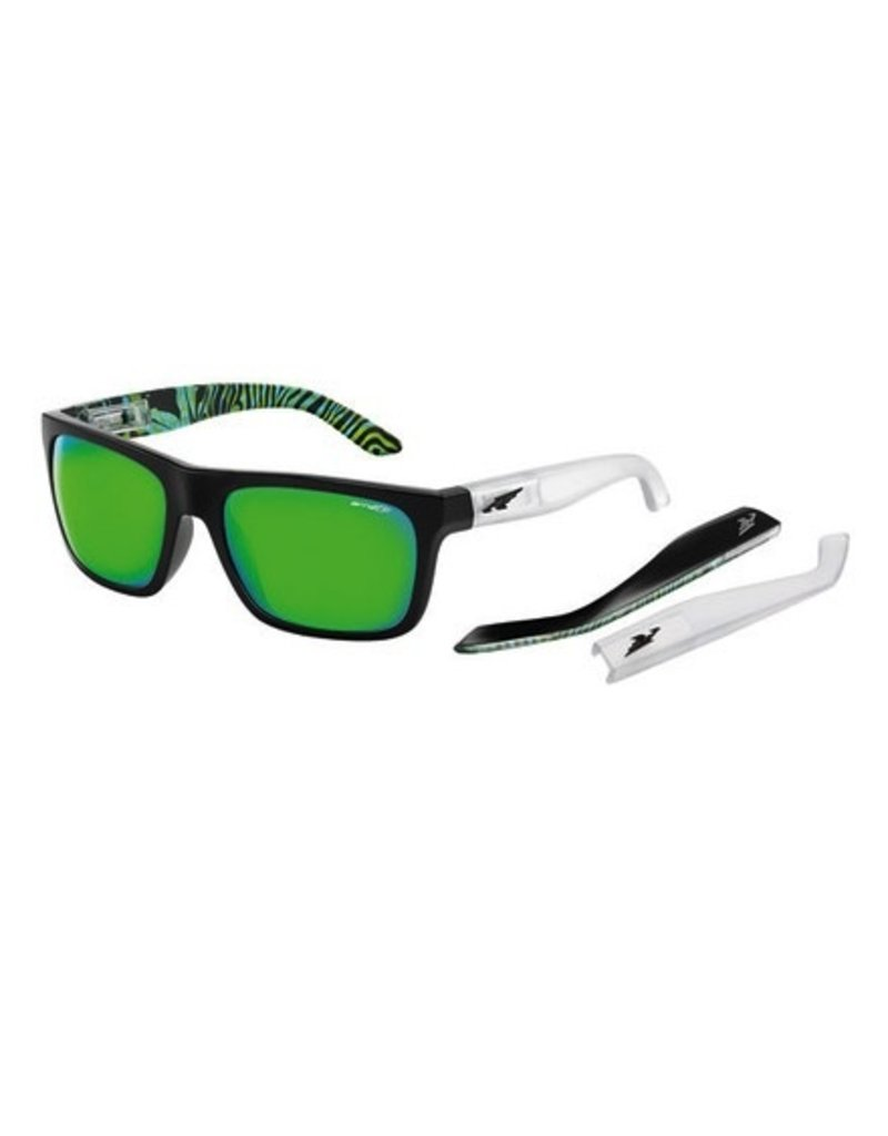 Arnette Arnette Dropout - Gloss Black with Green Psychedelic inside/Fuzzy Clear | Citrus Chrome Sunglasses