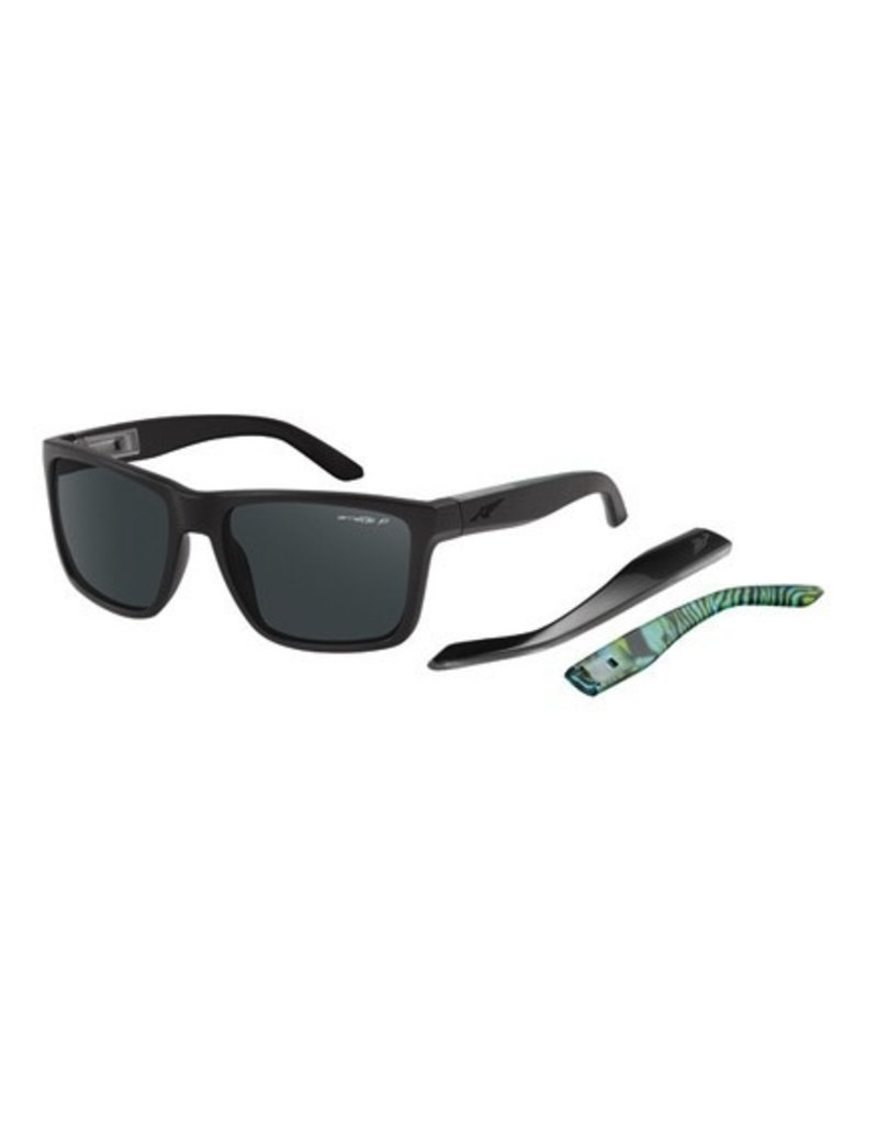 Arnette Arnette Witch Doctor Matte Black with Green Psychedelic inside Polarized Grey Sunglasses AN4177-16