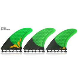 Kinetik Racing Fins Kinetik Racing Fins Occy Signature CT Carbo Tune Green/Carbon Single Tab M-L Surfboard Fins