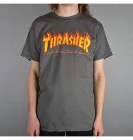 Thrasher Thrasher Flame SS Shirt, M, Gray