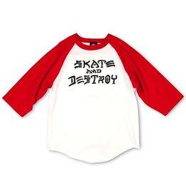 Thrasher Thrasher Skate and Destroy Raglan, WHT/RED, M