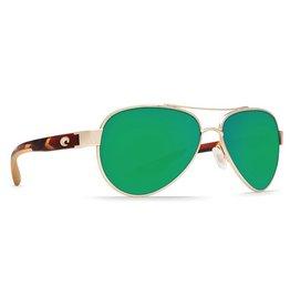 COSTA Costa Del Mar Loreto Sunglasses Rose Gold Polarized Plastic Green Mirror