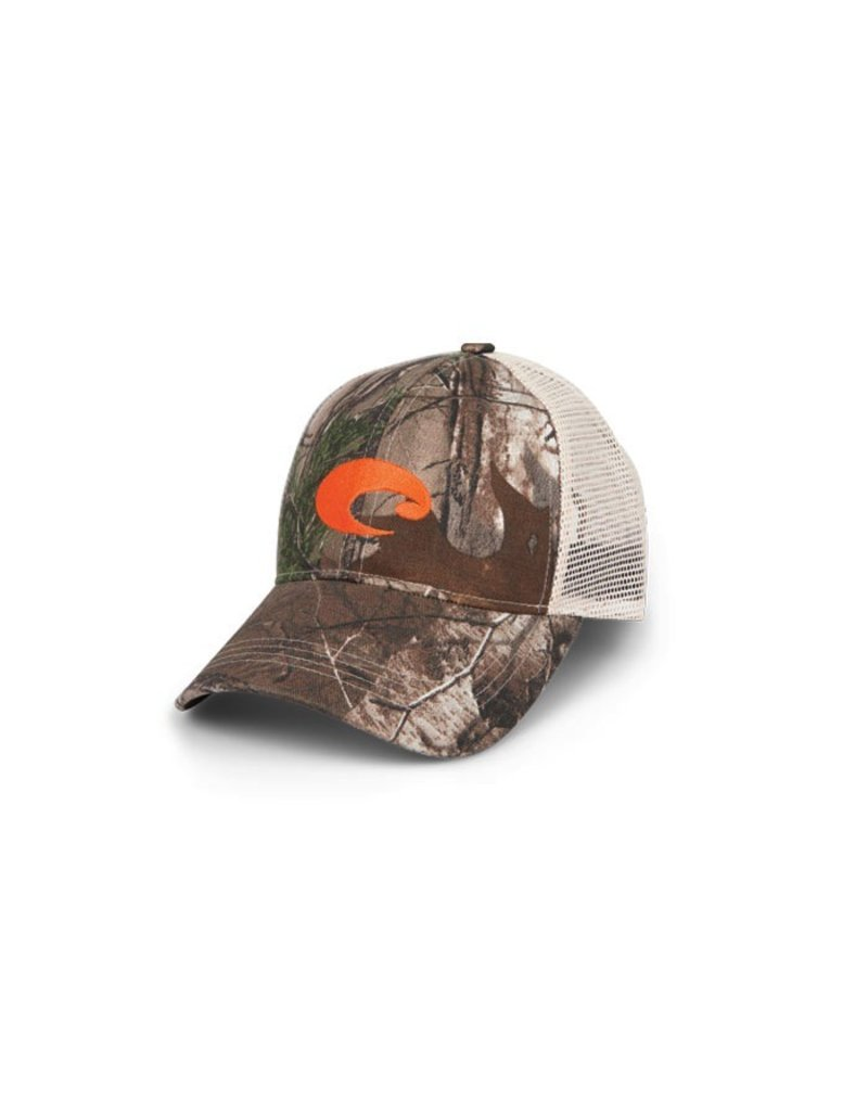 COSTA Costa Del Mar Mesh Hat Camo/Stone w/ Orange Embroidery-Realtree Xtra Camo
