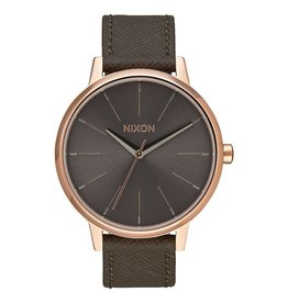 Nixon Nixon Kensington Leather Watch Rose Gold / Taupe Womens