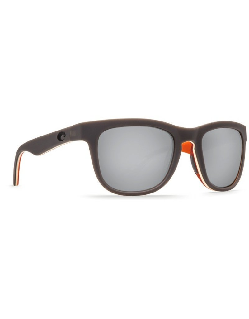 COSTA Costa Del Mar COPRA Matte Gray Cream Salmon Silver Mirror Polarized Plastic Sunglasses