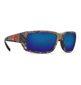 COSTA Costa Del Mar Fantail Realtree Xtra Camo Orange Logo Blue Mirror Polarized Plastic Sunglasses