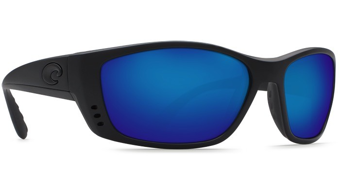 COSTA Costa Del Mar Fisch Sunglasses Blackout Blue Mirror Polarized Glass