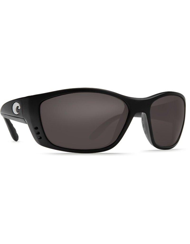 COSTA Costa Del Mar Fisch Sunglasses Matte Black Gray Polarized Plastic