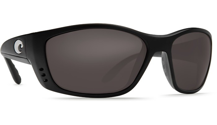 COSTA Costa Del Mar Fisch Sunglasses Matte Black Gray Polarized Plastic