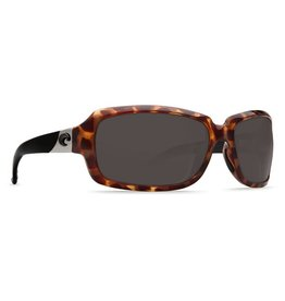 COSTA Costa Del Mar Isabela Sunglasses Retro Tortoise With Black Temples Gray Polarized Plastic