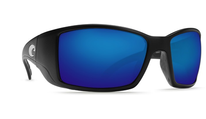 COSTA Costa Del Mar Blackfin Sunglasses Matte Black Blue Mirror Polarized Glass