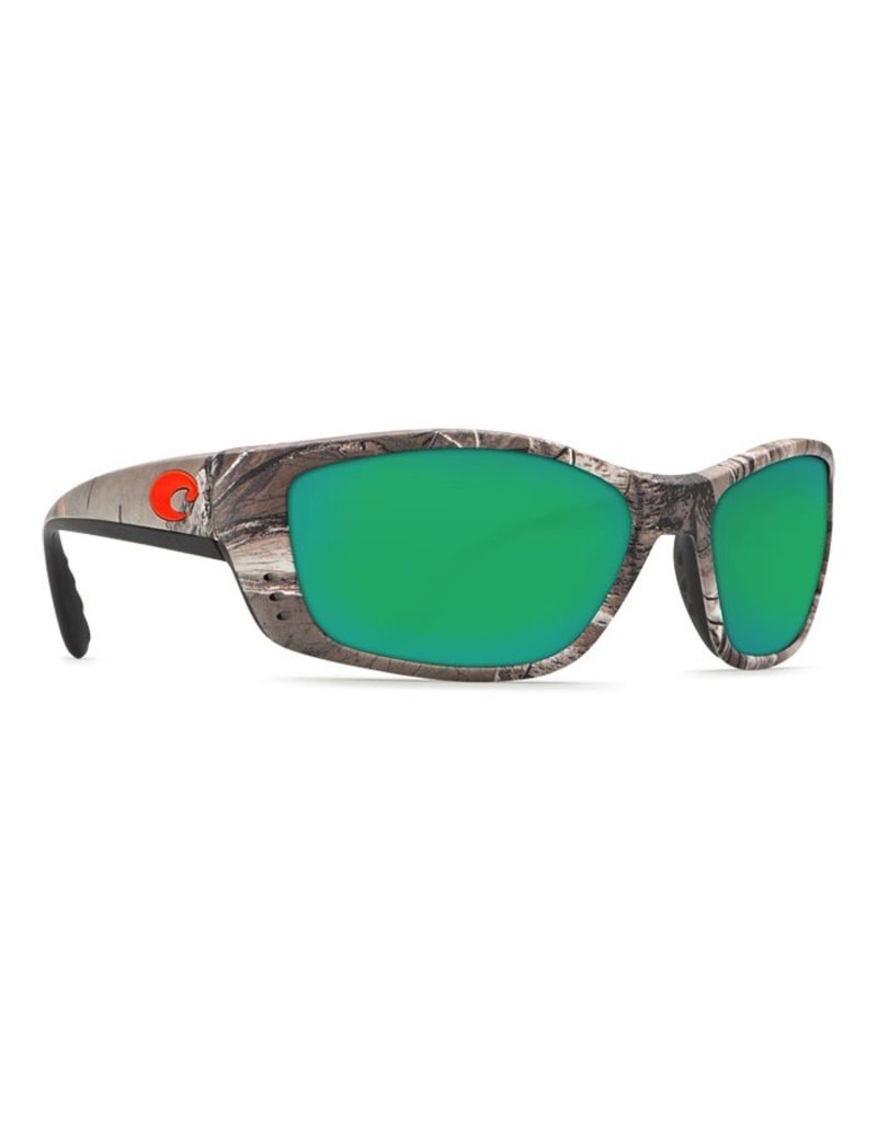 COSTA Costa Del Mar Fisch Sunglasses Realtree Xtra Camo Orange Logo Green Mirror