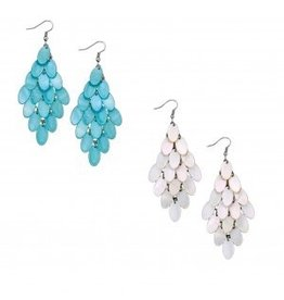 World End Imports Shell Fringe Chandelier Earring Jewelry