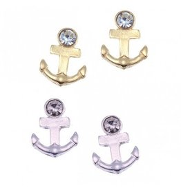 World End Imports Crystal Anchor Stud Earring Jewelry