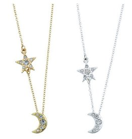 World End Imports Rhinestone Crescent Moon Star Necklace Jewelry