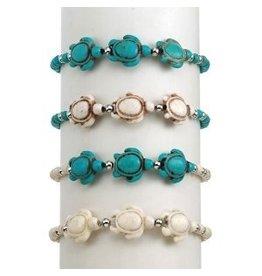 World End Imports Howlite Triple Sea Turtle Bracelet Jewelry