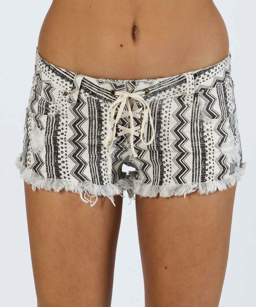 Billabong Billabong Lite Hearted Geo Stripe Denim Shorts