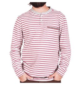 Roark Roark Dati Heather Grey Stripe Long Sleeve Shirt Mens