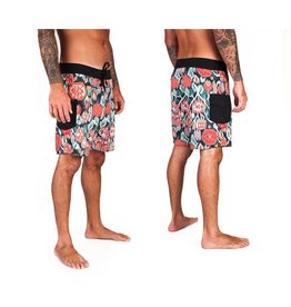 Brixton Leeward Trunk Black Cream Boardshorts Mens Swimwear
