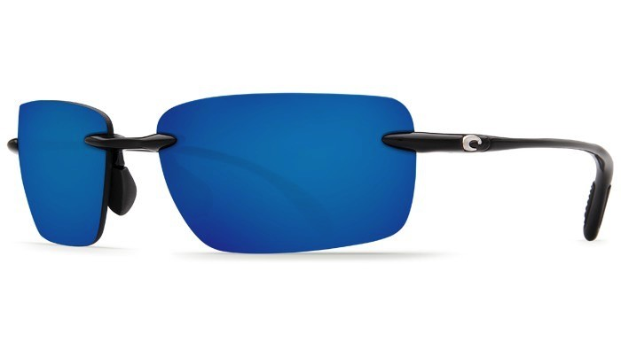 COSTA Costa Del Mar Oyster Bay Shiny Black Blue Mirror 580P Sunglasses