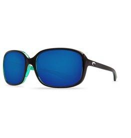 COSTA Costa Del Mar Riverton Shiny Black Kiwi Blue Mirror 580P Sunglasses