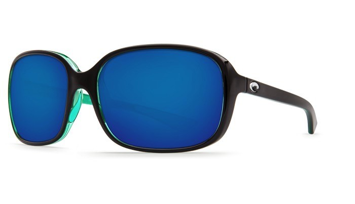 COSTA Costa Del Mar Riverton Shiny Black Kiwi Blue Mirror 580P Sunglasses