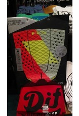 FCS FCS Filipe Toldelo Red/Lime/Slate Athlete Series Surfboard Traction Pad