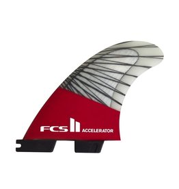 FCS FCS II Accelerator PC Carbon Red Mood Medium Thruster Surfboard Fins 2017