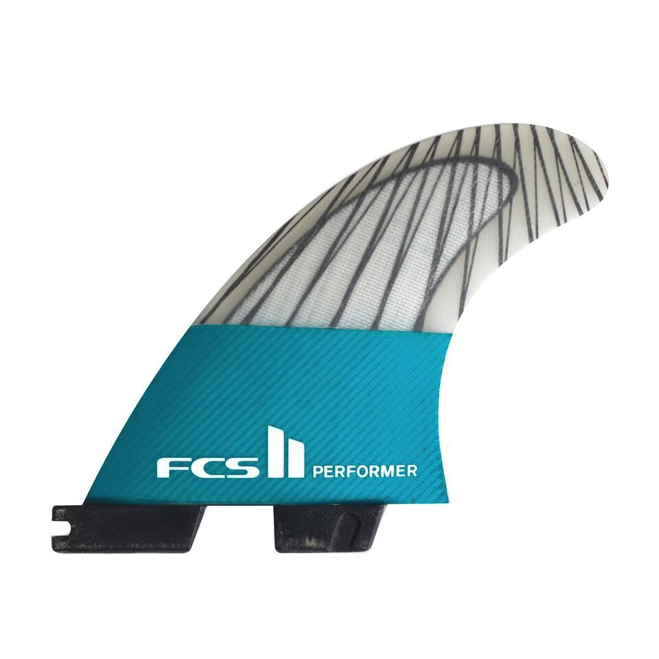 FCS FCS II Performer PC Carbon Teal Large Thruster Surfboard Fins 2017