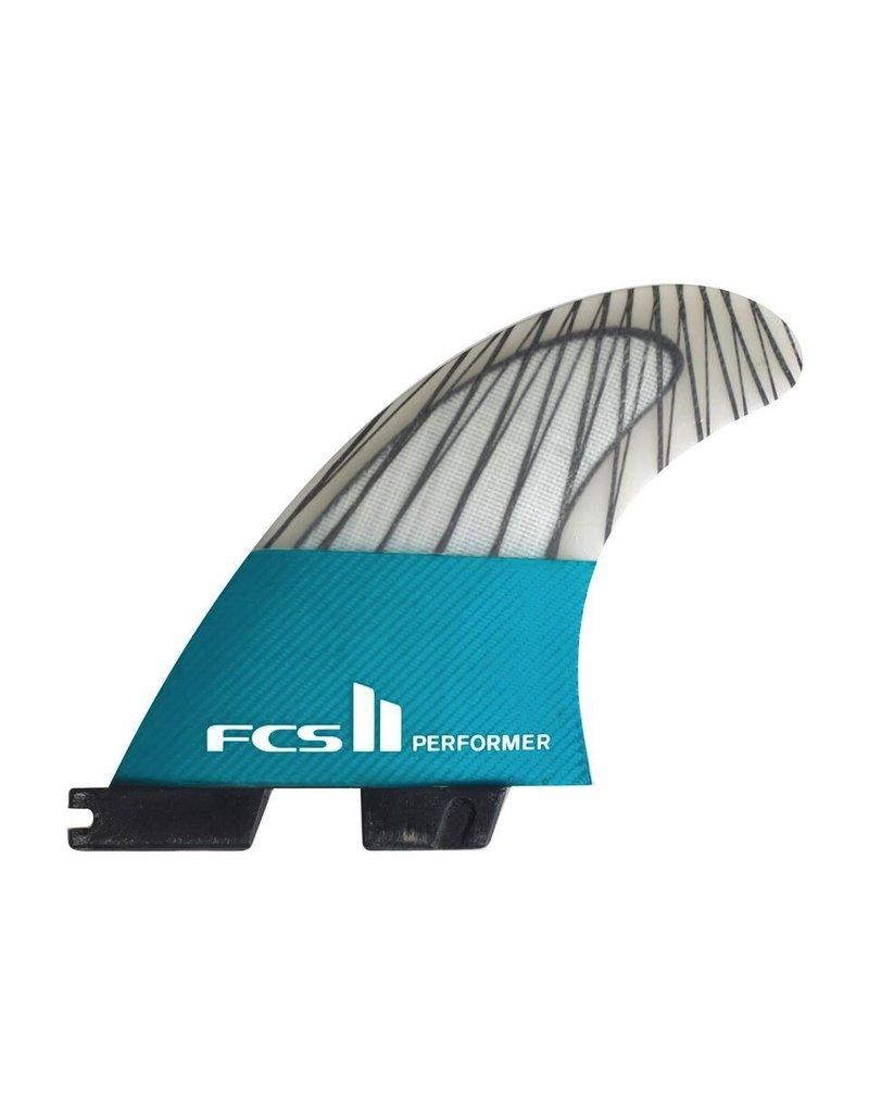 FCS FCS II Performer PC Carbon Teal Medium Thruster Surfboard Fins 2017