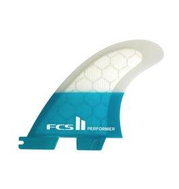 FCS FCS II Performer PC Carbon Quad Set Teal Medium Surfboard Fins
