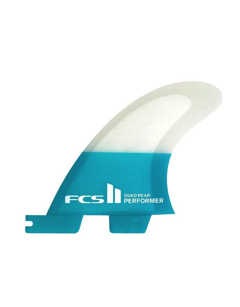 FCS FCS II Performer PC Carbon Quad Rear Teal Large Surfboard Fins