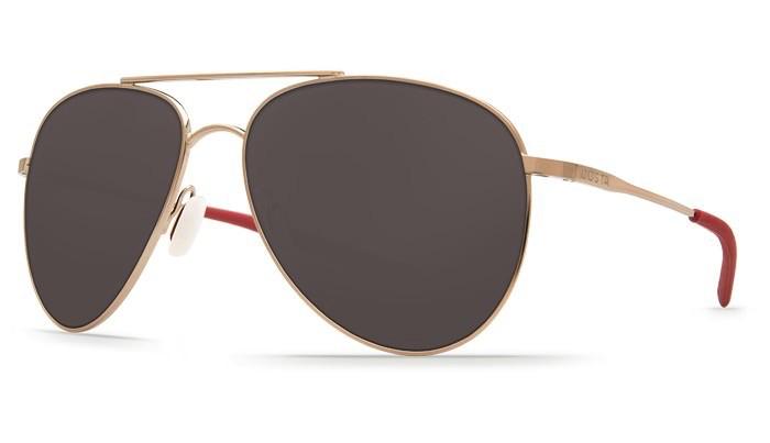 COSTA Costa Del Mar Cook Rose Gold Frame Gray Lens Polarized 580P Sunglasses