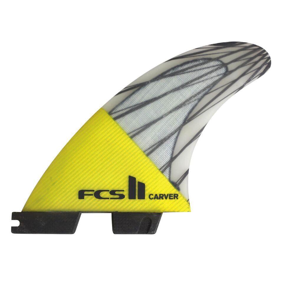 FCS FCS II Carver PC Carbon Yellow Medium Tri Set Thruster Surfboard Fins