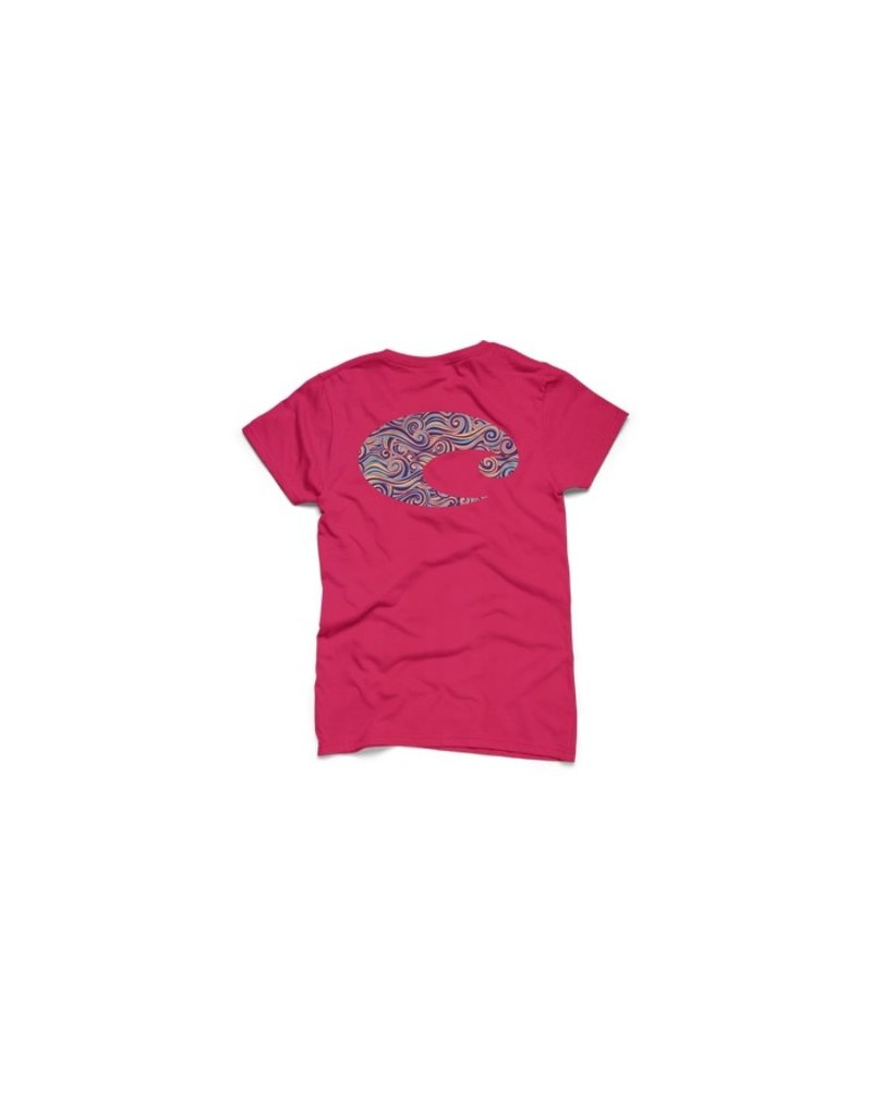 COSTA Costa Del Mar Logo Surf Womens Short Sleeve Shirt Hot Pink Large