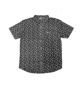 Salty Crew Salty Crew Bait Ball Woven SS Shirt Black Large Mens