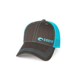 COSTA Costa Del Mar Neon Trucker Graphite Twill With Neon Blue Stitching Offset Logo