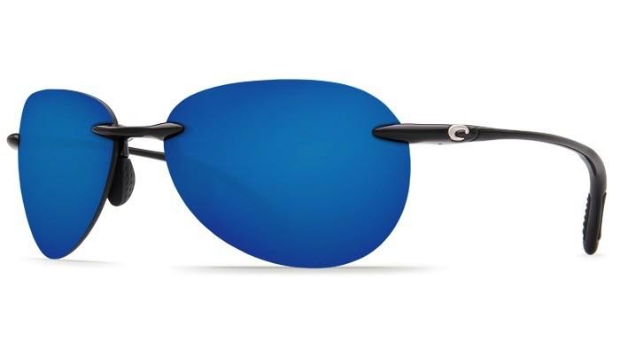 COSTA Costa Del Mar West Bay Shiny Black Blue Mirror 580P Sunglasses