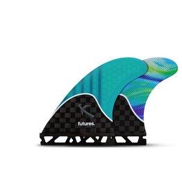 Futures Fins Lost V2 Generation Tech Flex Thruster Medium Surfboard Fins Carbon/Teal/Swirl