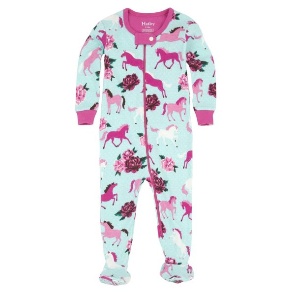PONIES & PEONIES FOOTED COVERALLS