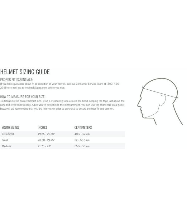 Giro Youth Snow Helmet Size Chart